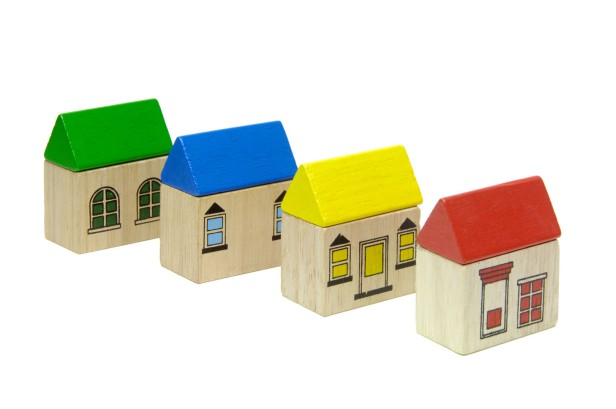 Wooden block toy house
